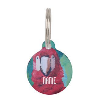 Scarlet Macaw Parrot Pet Tags