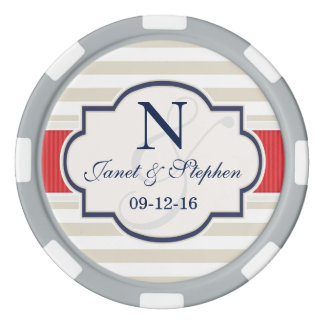 Scarlet, Navy, Eggshell Stripes Wedding Poker Chips
