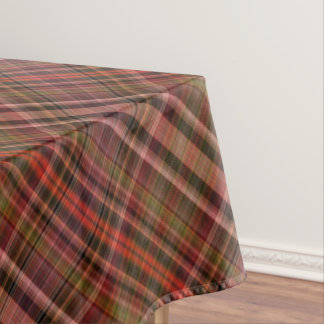 Scarlet, pink and green checked plaid tablecloth