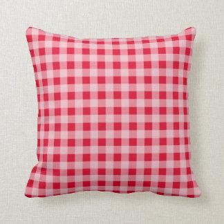 Scarlet Red Gingham Pattern Cushion