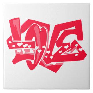 Scarlet Red Love Graffiti Large Square Tile