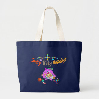 Scary baby monster printed bag. large tote bag