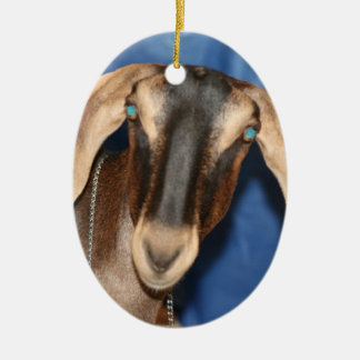Scary eyed Nubian goat kid head picture Ceramic Oval Decoration