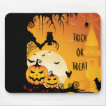 Scary Halloween Pumpkins and Full Moon Mouse Mats