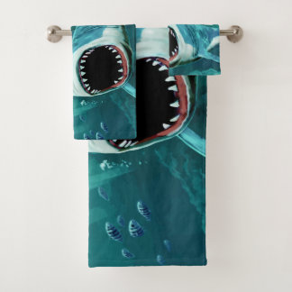 Scary Shark custom name towel set
