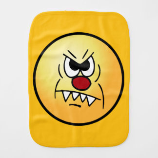 Scary Smiley Face Grumpey Burp Cloth