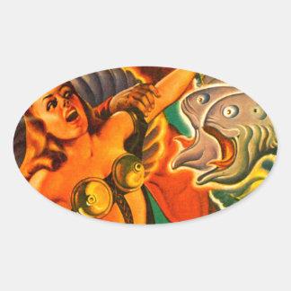 Scary Two-headed Space Eel Oval Sticker
