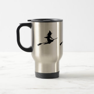Scary Witch and Broom Coffee Mugs