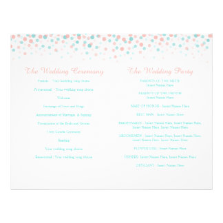 Scattered confetti dots coral teal wedding program flyer