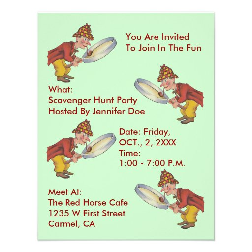SCAVENGER HUNT PARTY INVITE ~EZ TO CUSTOMIZE