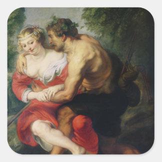 Scene of Love or, The Gallant Conversation Square Sticker
