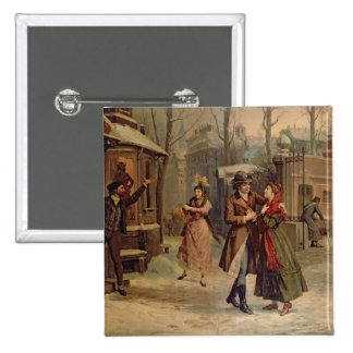 Scenery for the scene with Mimi and Rodolfo 15 Cm Square Badge