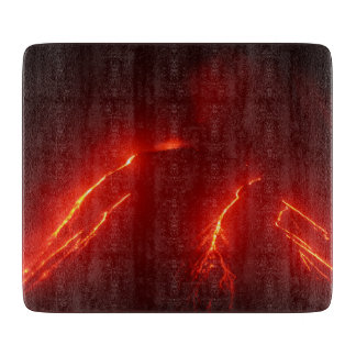 Scenery night eruption volcano cutting board