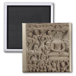 Scenes from Buddha's life, Sarnath, Uttar Pradesh Square Magnet
