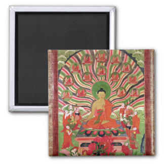 Scenes from the life of Buddha Square Magnet
