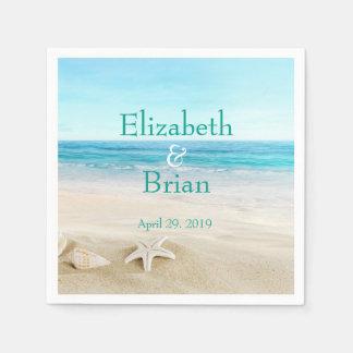 Scenic Beach Blue and White Personalized Disposable Napkin