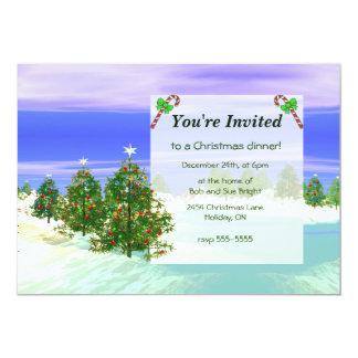 Scenic Christmas Trees Dinner 5x7 Paper Invitation Card