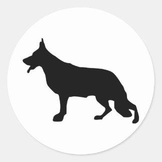 Schäferhund-Hundeschwarzes Round Sticker