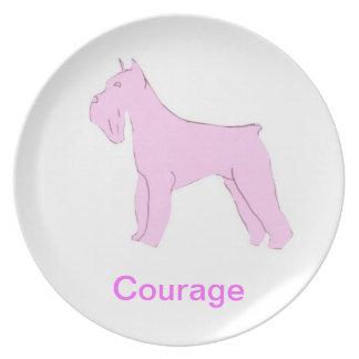 Schnauzer Courage Cancer Awareness Plate