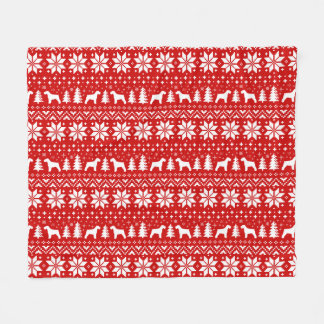Schnauzer Silhouettes Christmas Pattern Fleece Blanket