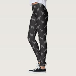 Schnauzer Silhouettes Pattern Black and Grey Leggings