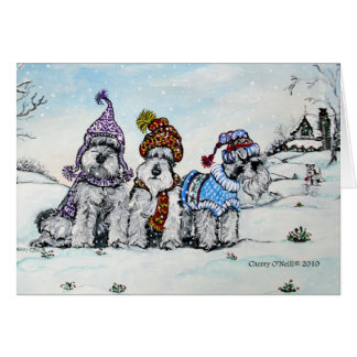 Schnauzers in Winter Card