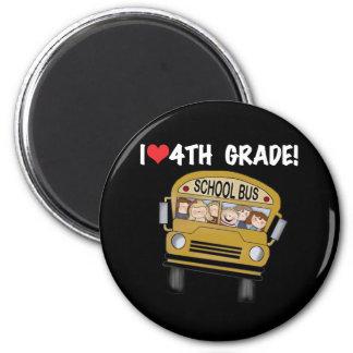 School Bus I Love 4th Grade Magnet