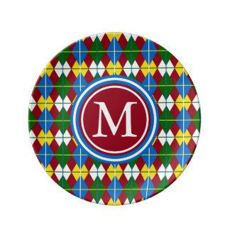 School Days Palette Argyle Inspired Monogram Plate