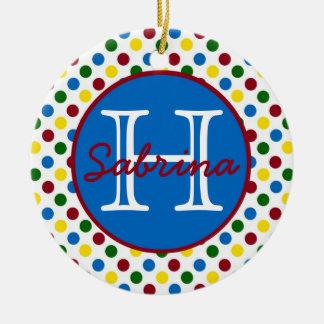 School Days Polka Dots Monogram Christmas Ornament
