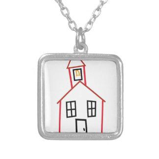 School House Square Pendant Necklace
