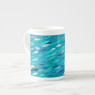 School of fish, blue, white, turquoise porcelain mugs