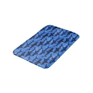 School of Sharks Blue Pattern Bath Mat
