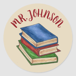 School Teacher Library Book Stack Personalised Classic Round Sticker