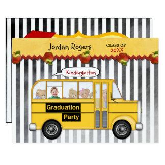 Schoolbus Teddy Bear Photo Kindergarten Graduation Card