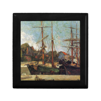 Schooner and three masters by Paul Gauguin Small Square Gift Box
