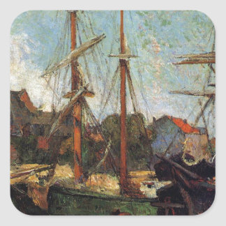 Schooner and three masters by Paul Gauguin Square Sticker