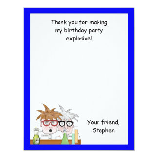 Science Birthday Party Thank You Note Chemist 11 Cm X 14 Cm Invitation Card
