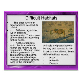 Science,Ecology Difficult habitats Poster