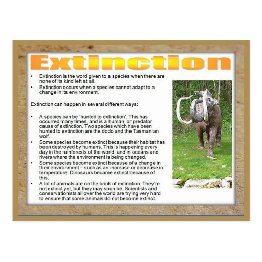 Science, Life science, Extinction of a species Post Card