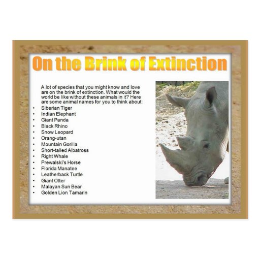 Science, Life Science, On the brink of extinction Post Card