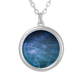Science Technology Blue Silver Plated Necklace
