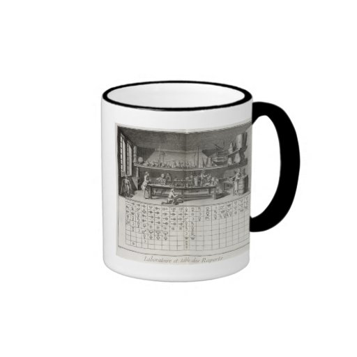 Scientific laboratory and table of chemical signs, coffee mugs