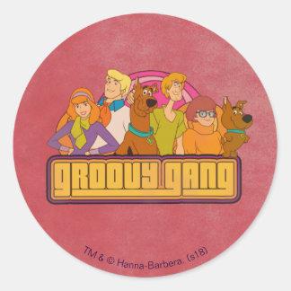 "Scooby-Doo | ""Groovy Gang"" Retro Cartoon Graphic Classic Round Sticker"