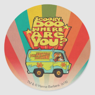 "Scooby-Doo | ""Where Are You?"" Retro Cartoon Van Classic Round Sticker"