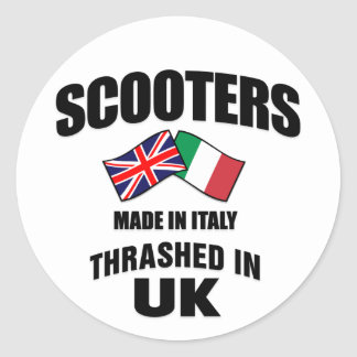 Scooters Made In Italy Thrashed in UK Classic Round Sticker