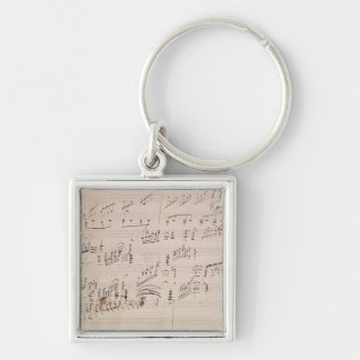 Score sheet of 'Moonlight Sonata' Silver-Colored Square Key Ring