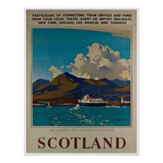 Scotland Kyle of Lochalsh Vintage Travel Poster