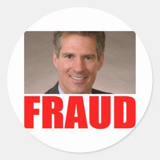Scott Brown = FRAUD Classic Round Sticker