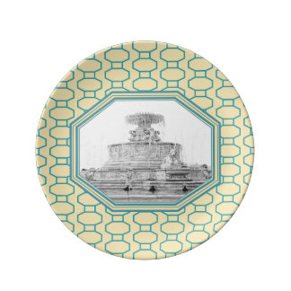 Scott Fountain | Belle Isle | Detroit, Michigan Porcelain Plate