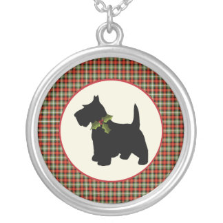 Scottie Dog Scotch Plaid Christmas Silver Plated Necklace